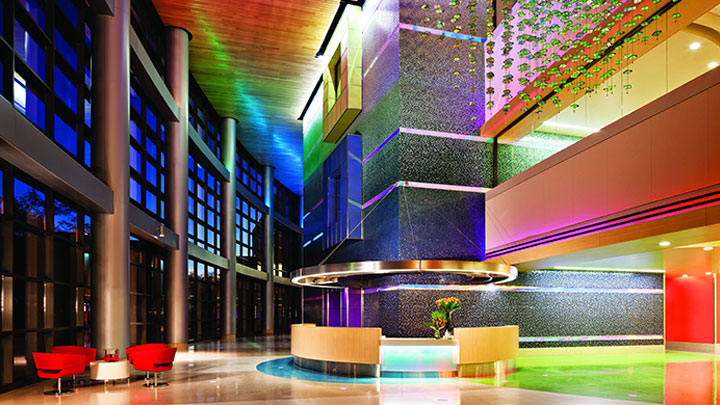 The reception area in the Phoenix childrens hospital lit up by Philips Lighting