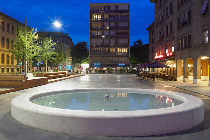 Nicely lit square at Geneva, Switzerland with Philips urban lighting