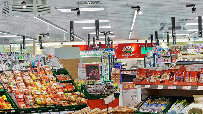 Products on display under Philips LED lighting