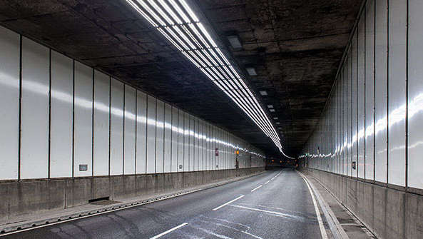 Meir tunnel illuminated with Philips lighting for tunnels