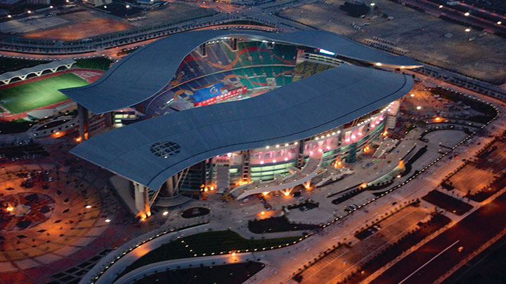 The Guangzhou Olympic stadium lit with Philips lighting products
