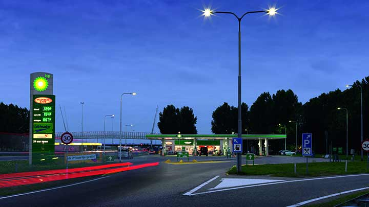 Improve your facility's first impression with petrol station lights developed by Philips Lighting