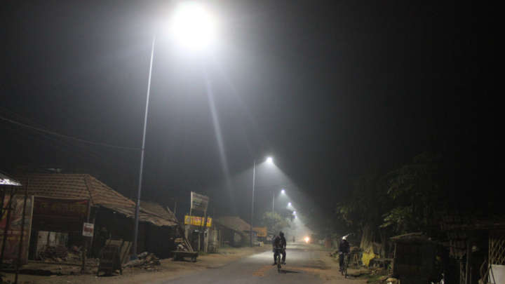 LED streetlighting installed at city roads providing good lighting throughout the night