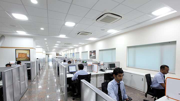 LED 2X2 luminaires installed across office areas within the campus helping provide comfortable environment to employees