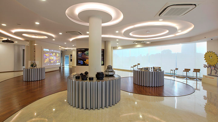 LED downlights installed across reception and other areas within the plant campus