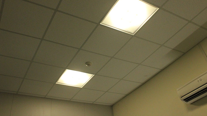 LED 2X2 luminaires installed in office areas